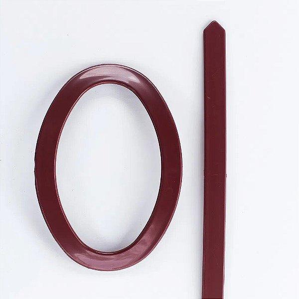 Abraçadeira Fivela Oval em PVC - Mogno Pequena