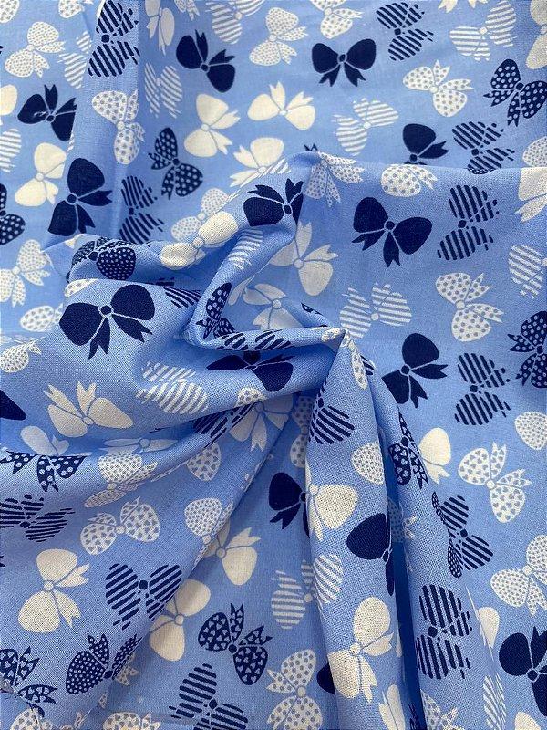 Tricoline Azul Claro com Lacinhos