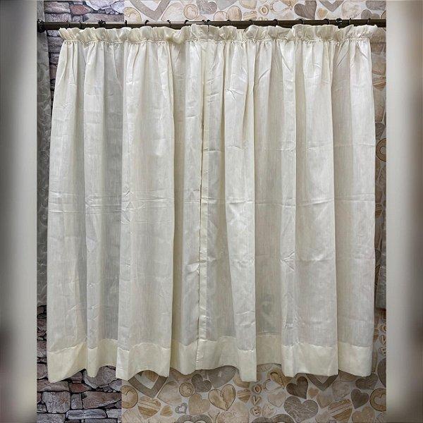 Cortina de tecido rústico marfim