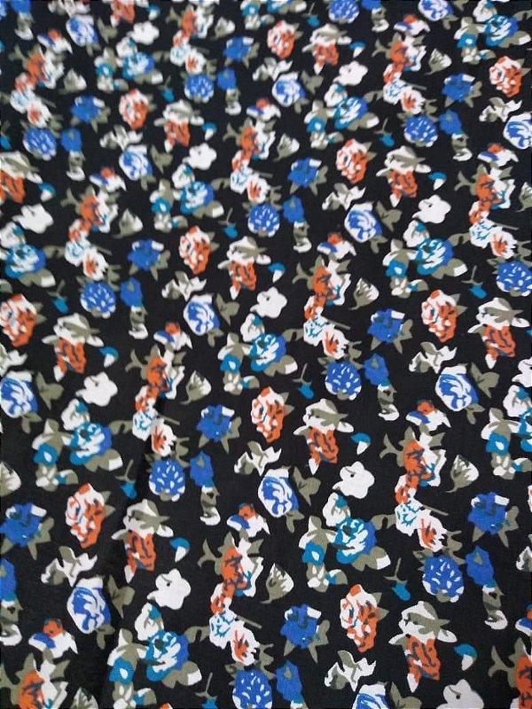 Tecido Tricoline Floral fundo preto novo 1,40x1,00m