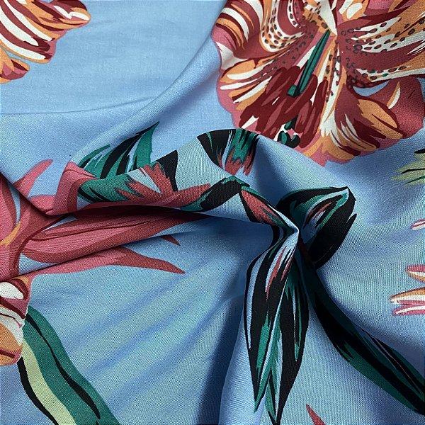 Tecido Popeline Florido Azul 1,40x1,00m 100%Viscose para Roupas