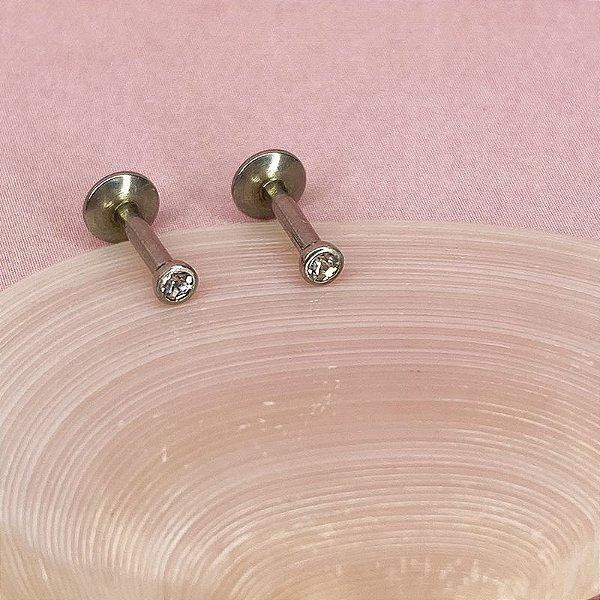 Piercing Labret com Cristal - Aço Cirúrgico