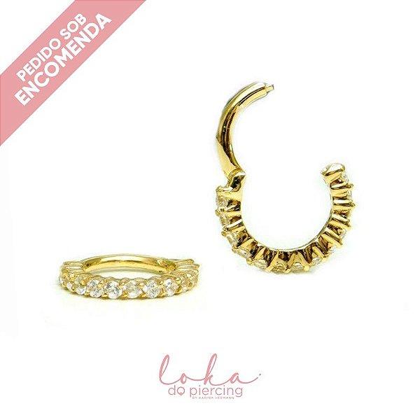 Piercing Argola Cravejada com Zircônias - Ouro 18k