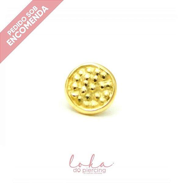 Piercing Labret Disco Martelado - Ouro 18k