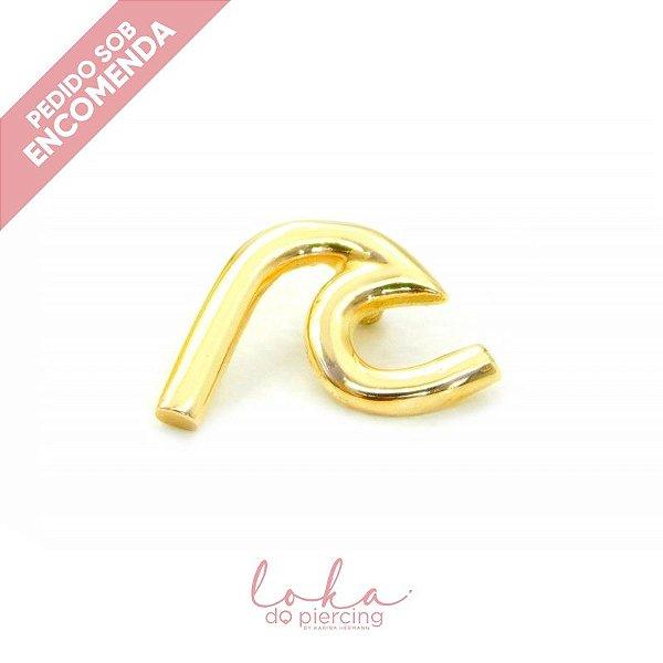 Piercing Labret Onda - Ouro 18k