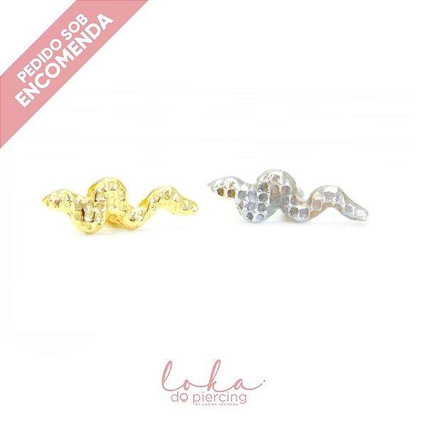 Piercing Labret Serpente - Ouro 18k