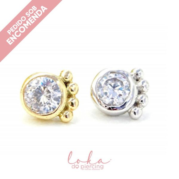 Piercing Labret Ornamental Lateral - Ouro 18k