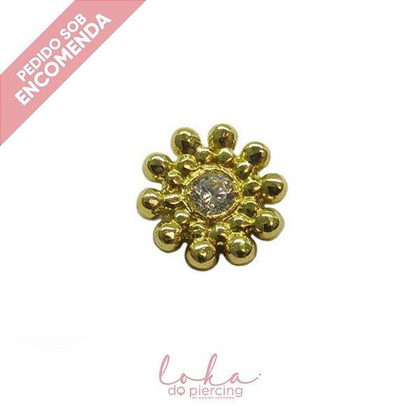 Piercing Labret com Sol Ornamental - Ouro 18k