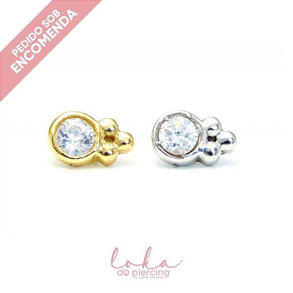 Piercing Labret Ornamental - Ouro 18k