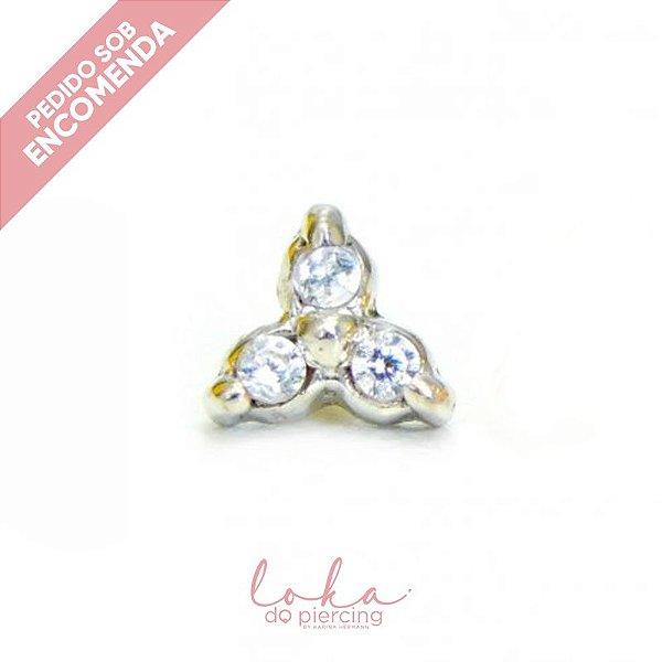 Piercing Labret Trinity com Zircônias - Ouro 18k