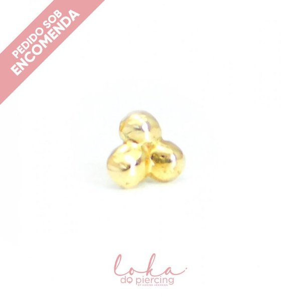 Piercing Labret com Trinity - Ouro 18k