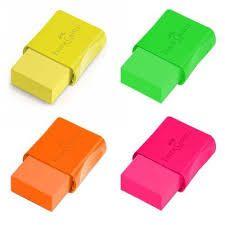 Borracha Colorida Neon C/ Cinta Plastica - Faber Castell