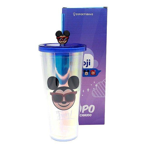 Copo Canudo C/ Pingente Holográfico Mickey Cool Emoji