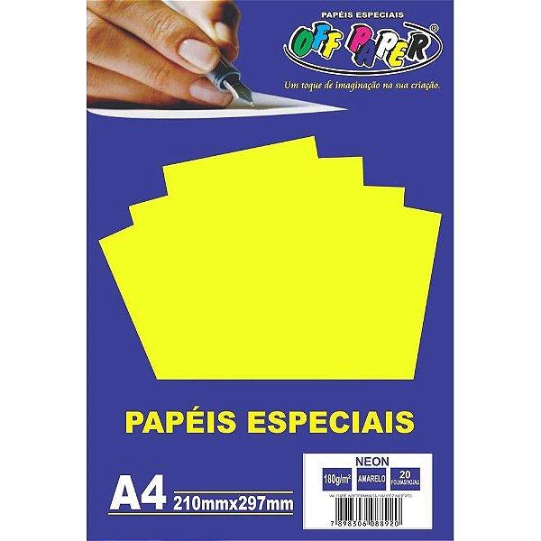 Papel Neon Amarelo A4 180g 20 FLS - Off Paper