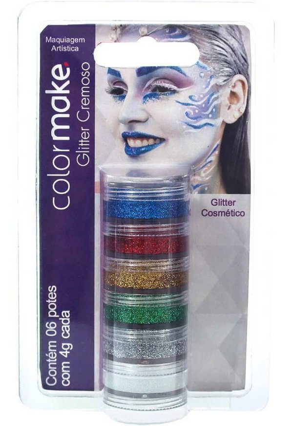 Pintura Facial Glitter Cremoso 6 Cores - Colormake