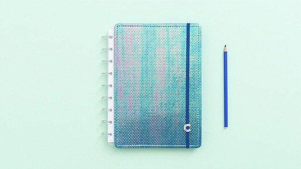 Caderno Azul Holografico - Medio - Caderno inteligente