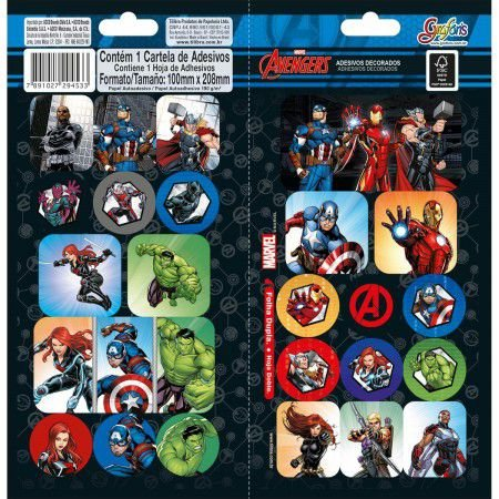 Adesivo Decorado Duplo Avengers - Tilibra
