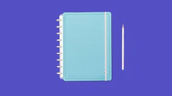 Caderno Azul Celeste  médio - Caderno Inteligente