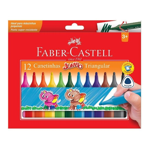Canetinha Triangular Jumbo  - 12 Cores Faber-Castell