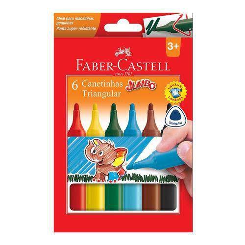 Canetinha Triangular Jumbo - 6 Cores Faber-Castell