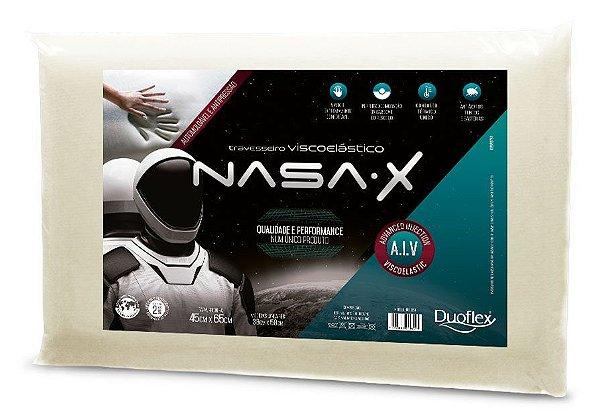 Travesseiro Nasa-X, Duoflex, 100% Algodão, Bege, para Fronha 45Cmx65Cm