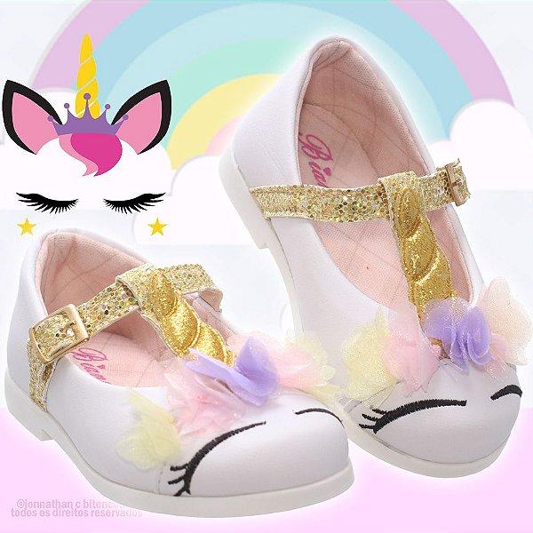 Sapatilha Infantil unicornio branco