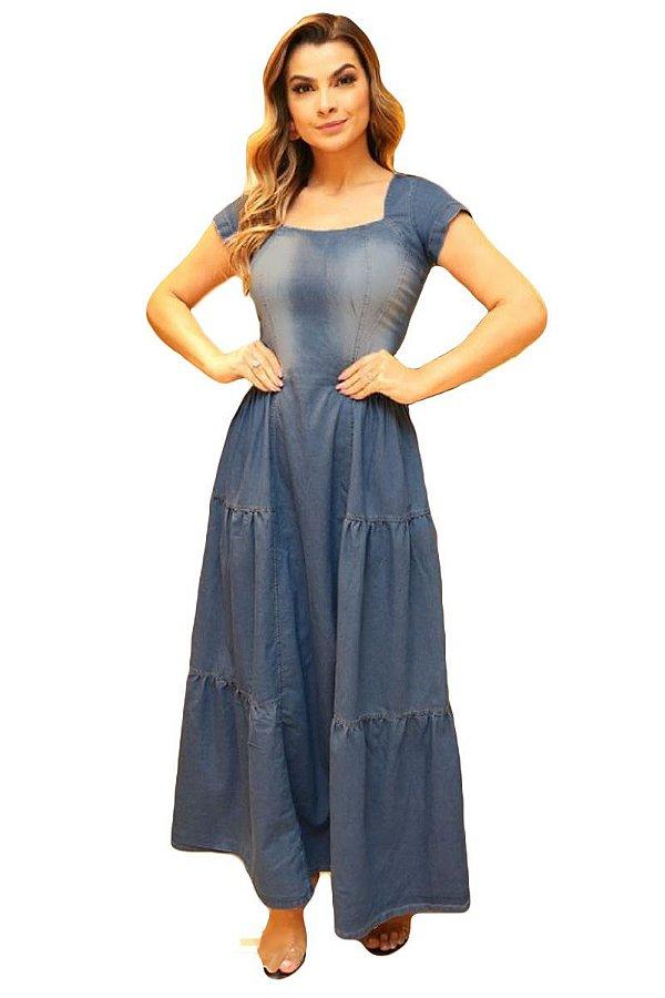 de3fe9d539 Vestido Jeans Longo Três Marias Moda Evangélica