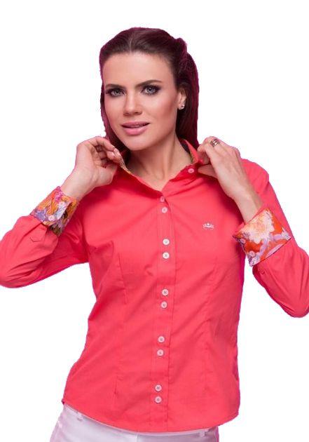 Camisa Nancy Laranja Floral Chemizz Moda Feminina