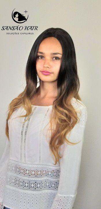 Peruca Priscila Loira Sintética Longa Raiz Natural Cabelo Ombre Hair