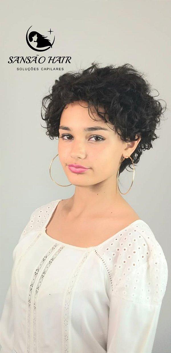 Peruca Suzana Cabelo Curto Encaracolado Afro de Cabelos Humanos