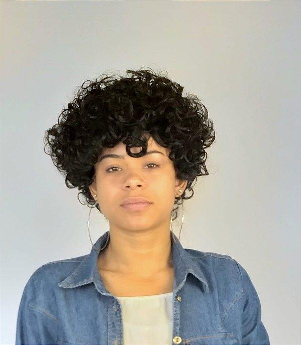 Peruca Maria Cabelo Encaracolado Afro Preto Igual Humano Sintético