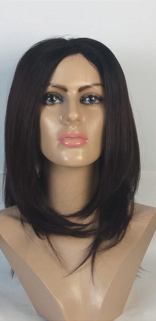 Peruca Helena Ombre Hair preto e Marsalha de Fibra Orgânica