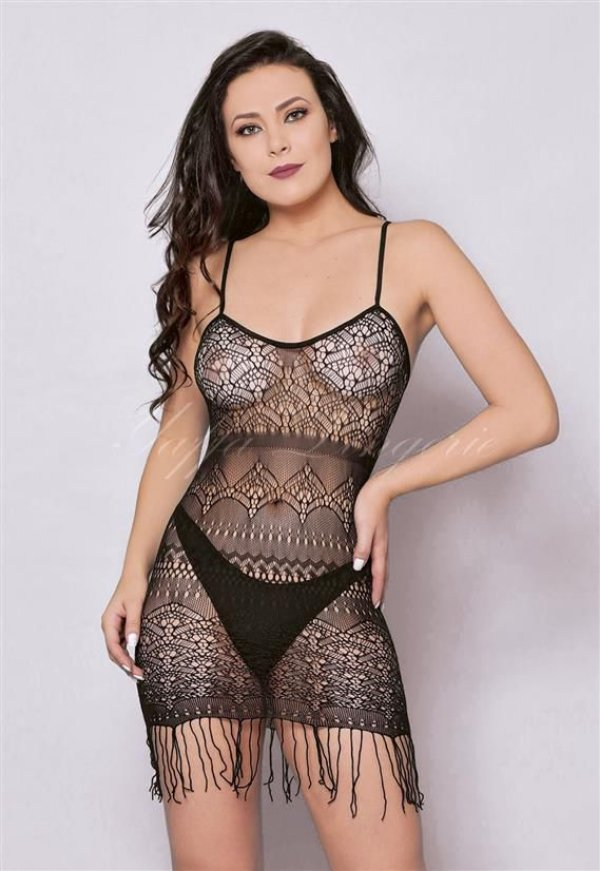 Mini Vestido Franjas - Cor: Preto | Y6017