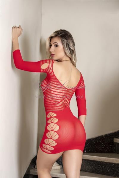 Mini Vestido Sensual com Mangas - Cor: Vermelho - Tamanho: Único | Y1542