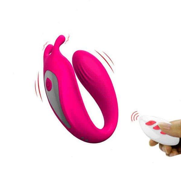 BUBBLE - Vibrador para Casal com Estimulação de Clitóris  - 9 Modos de Vibração - Cor: Rosa   Aixi0100
