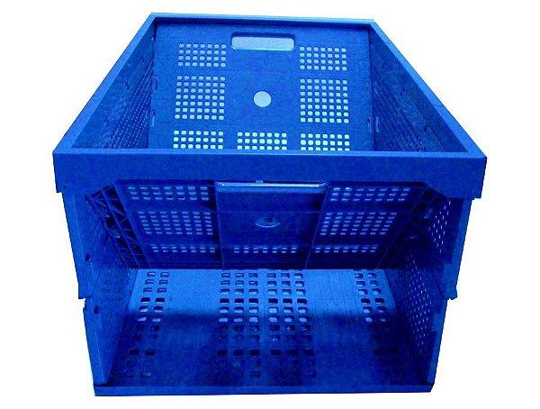 Caixa plástica dobrável PP azul 64 l/50kg 60x40x31cm - Pct c/2