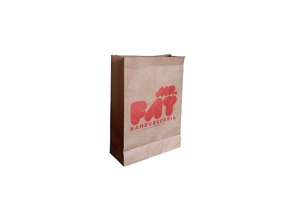 Sacos de papel kraft 80g p/hamburguer 25x10x36cm Personalizado - Pct c/500