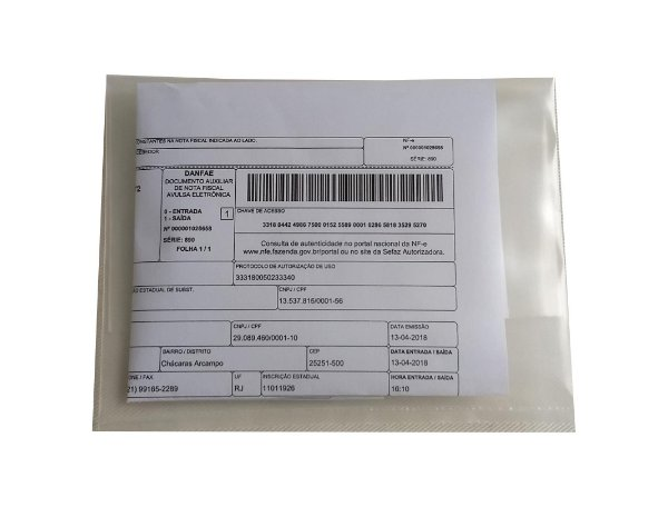 Envelope Plástico Transp P/danfe 15x20x0,20 - Pct C/2,50 Kg