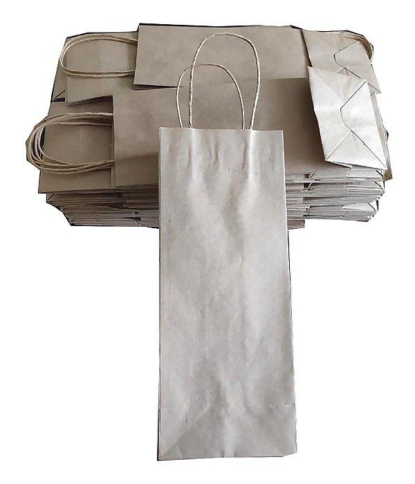 Sacolas de papel kraft 135g lisas 12x9x32cm p/vinho - Pct c/50