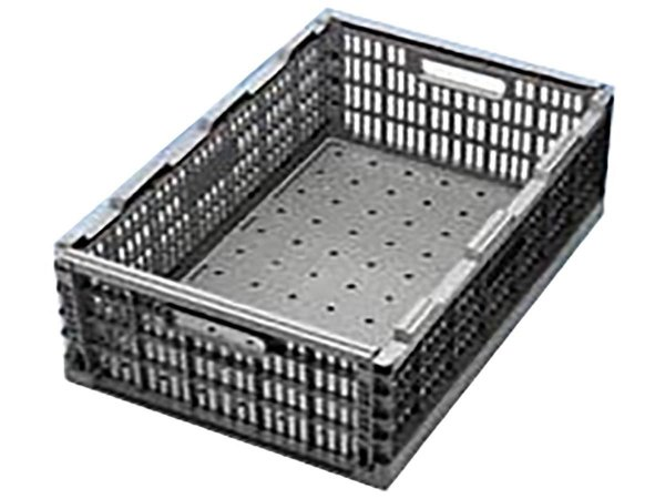 Caixa plástica dobrável cinza 60x40x24 cm 40 kg - Pct c/5