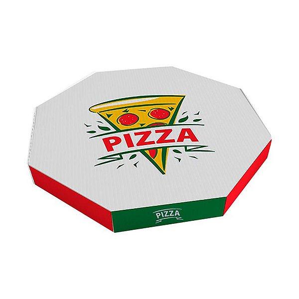 Caixa de papelão branca oitavada p/pizza 25cm Cx c/50