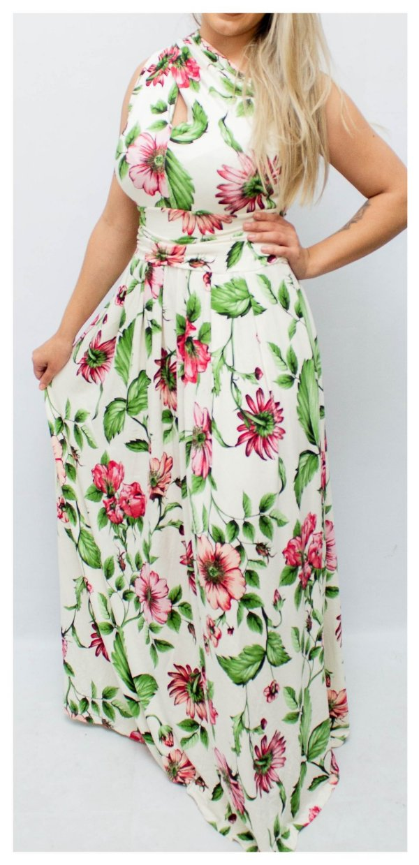 cd1ba1b98fb5 Vestido Multiformas Floral - Platano Moda Atacado - Moda Executiva e ...