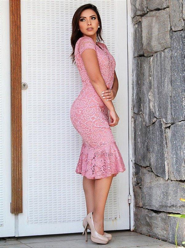e267a2b08abe VESTIDO LA FEMME RENDA ROSÊ - Platano Moda Atacado - Moda Executiva ...