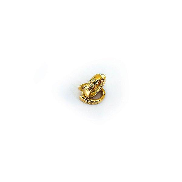 Brinco Argola Pequena de Ouro 750 18k e Brilhantes