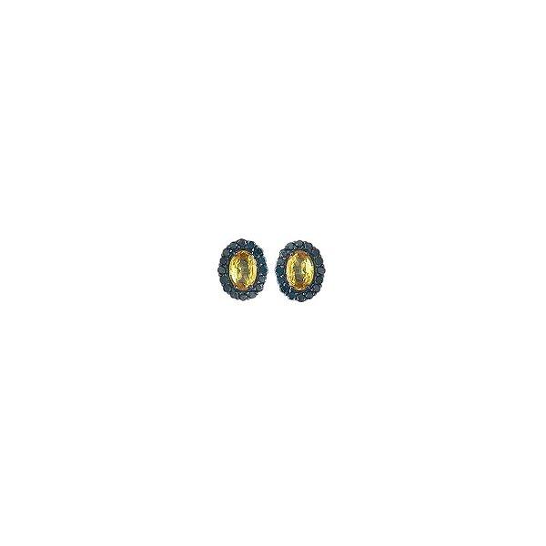 Brinco safira amarela e diamantes negros