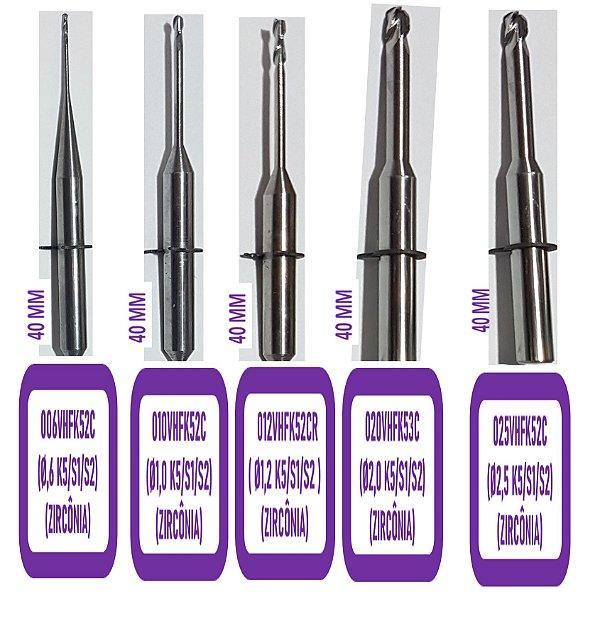 FRESA CAD CAM - VHF ( S1/S2/K5 ) L40 - 2 Cortes Ball Nose (Haste  Ø3mm)