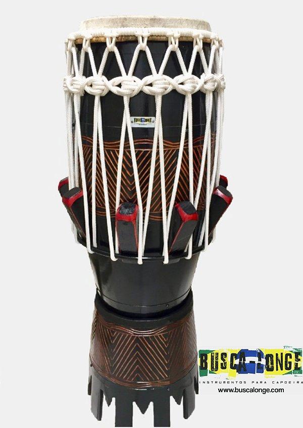 Atabaque Personalizado com entalhe em madeira (preto com corda branca)
