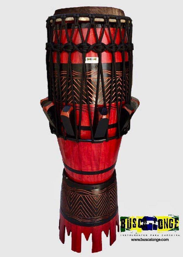 Atabaque Personalizado com entalhe em madeira (vermelho com corda preta)