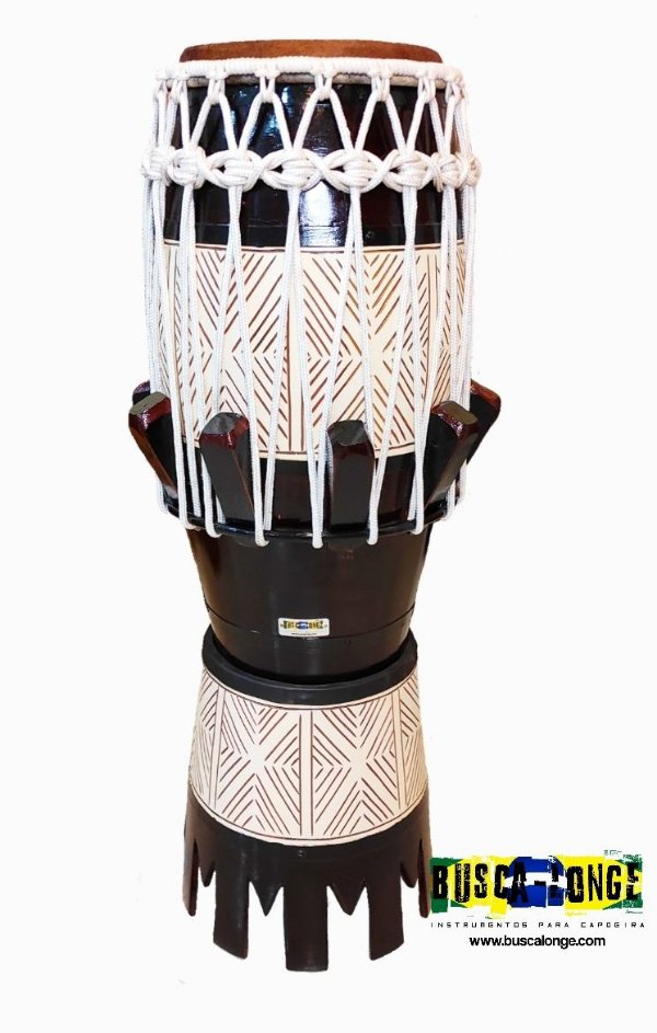 Atabaque Personalizado com entalhe em madeira (marrom com corda branca )