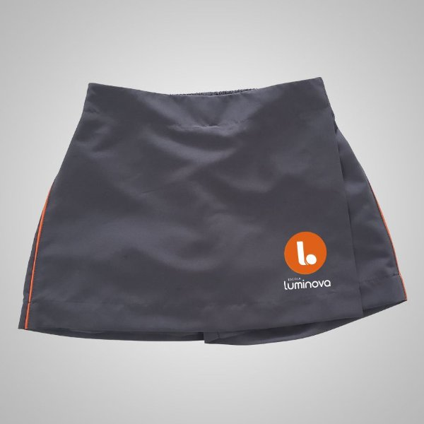 Short Saia Cinza Tactel - Uniforme Luminova